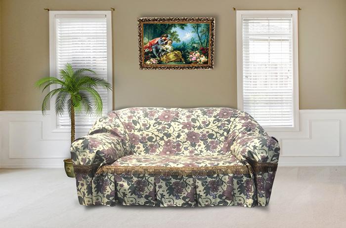 Набор чехлов для дивана и кресел МарТекс Аленький, цветочек, 3 предмета. 05-0577-205-0577-2Гобеленовые полотна для покрывал изготавливаются из качественного хлопка, с добавлением полиэстера. Ткань очень плотная, прочная, отлично сохраняет форму и в то же время мягкая и приятная на ощупь. Пестрый рисунок достигается путем переплетения нитей разных цветов, а не путем окрашивания готового полотна. Состав гобелена для повышения износостойких качеств производители добавляют до 50% полиэстера. Достоинства: - экологичность. Преобладание натуральных волокон в составе гобеленового полотна позволяет обеспечить покрывалу хорошую воздухопроницаемость, гигроскопичность и достойные гигиенические свойства.- простота ухода. Покрывало не требует частых стирок, не боится солнечного света, не выцветает и не линяет; - не требует подкладки и уплотнителя. Ткань сама по себе достаточно жесткая, хорошо держит форму и помогает сгладить неровности; - износостойкость. Долговечность обеспечивает особая техника плетения нитей, а добавление синтетических волокон помогает увеличить срок службы изделия. Покрывала из гобелена благодаря своей пестроте материал сам по себе не нуждается в частой стирке. Состав: 50%хлопок, 50% полиэстер,Уход: стирка 30градусов в деликатном режиме, глажка в режиме хлопка.