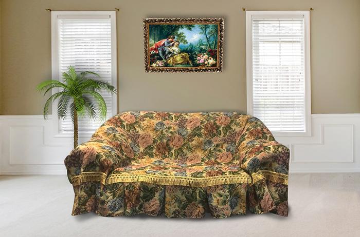 Набор чехлов для дивана и кресел МарТекс Примула, 3 предмета. 05-0579-205-0579-2Гобеленовые полотна для покрывал изготавливаются из качественного хлопка, с добавлением полиэстера. Ткань очень плотная, прочная, отлично сохраняет форму и в то же время мягкая и приятная на ощупь. Пестрый рисунок достигается путем переплетения нитей разных цветов, а не путем окрашивания готового полотна. Состав гобелена для повышения износостойких качеств производители добавляют до 50% полиэстера. Достоинства: - экологичность. Преобладание натуральных волокон в составе гобеленового полотна позволяет обеспечить покрывалу хорошую воздухопроницаемость, гигроскопичность и достойные гигиенические свойства.- простота ухода. Покрывало не требует частых стирок, не боится солнечного света, не выцветает и не линяет; - не требует подкладки и уплотнителя. Ткань сама по себе достаточно жесткая, хорошо держит форму и помогает сгладить неровности; - износостойкость. Долговечность обеспечивает особая техника плетения нитей, а добавление синтетических волокон помогает увеличить срок службы изделия. Покрывала из гобелена благодаря своей пестроте материал сам по себе не нуждается в частой стирке. Состав: 50%хлопок, 50% полиэстер,Уход: стирка 30градусов в деликатном режиме, глажка в режиме хлопка.