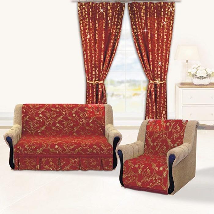 Набор чехлов для дивана и кресел МарТекс Гранат , 3 предмета. 05-0618-305-0618-3Гобеленовые полотна для покрывал изготавливаются из качественного хлопка, с добавлением полиэстера. Ткань очень плотная, прочная, отлично сохраняет форму и в то же время мягкая и приятная на ощупь. Пестрый рисунок достигается путем переплетения нитей разных цветов, а не путем окрашивания готового полотна. Состав гобелена для повышения износостойких качеств производители добавляют до 50% полиэстера. Достоинства: - экологичность. Преобладание натуральных волокон в составе гобеленового полотна позволяет обеспечить покрывалу хорошую воздухопроницаемость, гигроскопичность и достойные гигиенические свойства.- простота ухода. Покрывало не требует частых стирок, не боится солнечного света, не выцветает и не линяет; - не требует подкладки и уплотнителя. Ткань сама по себе достаточно жесткая, хорошо держит форму и помогает сгладить неровности; - износостойкость. Долговечность обеспечивает особая техника плетения нитей, а добавление синтетических волокон помогает увеличить срок службы изделия. Покрывала из гобелена благодаря своей пестроте материал сам по себе не нуждается в частой стирке. Состав: 50%хлопок, 50% полиэстер,Уход: стирка 30градусов в деликатном режиме, глажка в режиме хлопка.