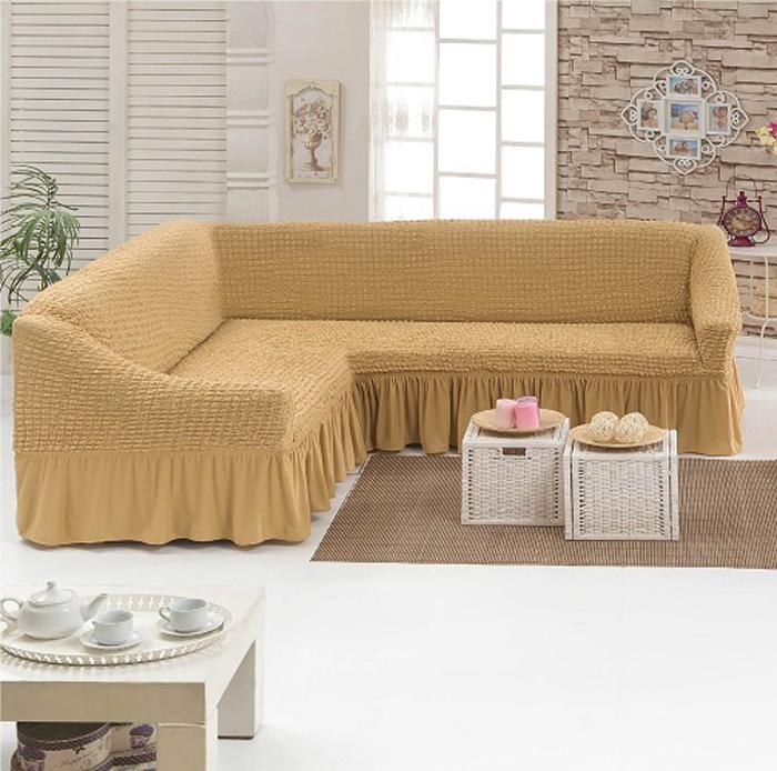 Чехол для углового трехместного дивана МарТекс, цвет: бежевый. 05-0664-305-0664-3Как защитить диван от нападок кота? Как объяснить ребёнку, что рисовать на мебели - нелучшая идея? Как отучить членов семьи ужинать в гостиной и пачкать обивку соусом? Навсегдазабыть об этих вопросах поможет чехол для мягкой мебели. Он защитит ваш любимыйугловой диван от пятен, которые, кажется, угрожают ему ежеминутно. А кроме того, изделиестанет стильным дополнением образа любой комнаты: минималистичный дизайн поможет емуудачно вписаться в каждый интерьер. В комплекте: чехол и 7 валиков для фиксации.Чехол рассчитан на диван длиной 220-340 см. Ширина посадочного места: 140-210 см;Глубина посадочных мест: 70-80 см;Высота спинки дивана: 80-90 см;Ширина подлокотников: 25-35 см;Длина юбки: 35 см.
