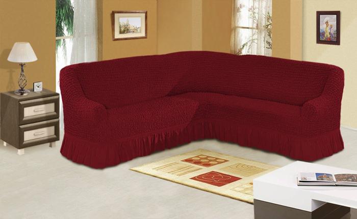 Чехол для углового трехместного дивана МарТекс, цвет: бордовый. 05-0665-305-0665-3Комплект чехлов для мебели из эластичной ткани с эффектом жатка, выполнен из высококачественного полиэстера и хлопка с красивым рельефом. Предназначен для мягкой мебели стандартного размера со спинкой высотой в 140 см. Такие чехолы изысканно дополнят интерьер вашего дома. Изделие прорезинено со всех сторон и оснащено закрывающей оборкой. Набор чехлов для мягкой мебели придаст вашей мебели новый внешний вид. Каждый элемент интерьера нуждается в уходе и защите. В большинстве случаев потертости появляются на диванах и креслах. В набор входит чехол для трехместного дивана и два чехла для кресла. Чехлы изготовлены из 60% полиэстера и 40% хлопка. Такой материал прекрасно переносит нагрузки, долго не стареет и его просто очистить от грязи.Набор чехлов создан для тех, кто не планирует покупать новую мебель каждый год. Чехлы можно постирать в стиральной машине на деликатном режиме стирки. Он идеально подойдет для тех, кто хочет защитить свою мебель от постоянных воздействий. Этот чехол, благодаря прочности ткани, станет идеальным решением для владельцев домашних животных. Кроме того, состав ткани гипоаллергенен, а потому безопасен для малышей или людей пожилого возраста. Такой чехол отлично впишется в любой интерьер. Чехол послужит не только практичной защитой для вашей мебели, но и обновит интерьер без лишних затрат.
