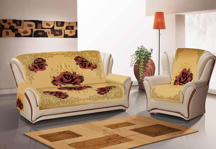 Набор чехлов для дивана и кресел МарТекс Винтажная роза, с карманами и боковинками, 3 предмета. 05-0719-3