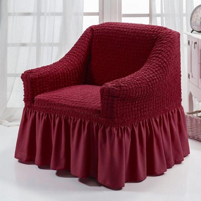 Чехол для кресла МарТекс, цвет: бордовый. 05-0727-305-0727-3Чехол для кресла МарТекс из эластичной ткани с эффектом жатка, выполнен из высококачественного полиэстера и хлопка с красивым рельефом. Такие чехлы изысканно дополнят интерьер вашего дома. Изделие прорезинено со всех сторон и оснащено закрывающей оборкой. Чехол для кресла МарТекс придаст вашей мебели новый внешний вид. Каждый элемент интерьера нуждается в уходе и защите. В большинстве случаев потертости появляются на диванах и креслах. В набор входит чехол для трехместного дивана и два чехла для кресла. Чехлы изготовлены из 60% полиэстера и 40% хлопка. Такой материал прекрасно переносит нагрузки, долго не стареет и его просто очистить от грязи.Чехол создан для тех, кто не планирует покупать новую мебель каждый год. Чехлы можно постирать в стиральной машине на деликатном режиме стирки. Он идеально подойдет для тех, кто хочет защитить свою мебель от постоянных воздействий. Этот чехол, благодаря прочности ткани, станет идеальным решением для владельцев домашних животных. Кроме того, состав ткани гипоаллергенен, а потому безопасен для малышей или людей пожилого возраста. Такой чехол отлично впишется в любой интерьер. Чехол послужит не только практичной защитой для вашей мебели, но и обновит интерьер без лишних затрат.Кресло, размеры: Ширина посадочного места: 70-80 см. Ширина подлокотников: 25-35см. Глубина посадочного места: 70-80 см. Высота юбки: 35-45 см. Высота спинки: 80-90 см.