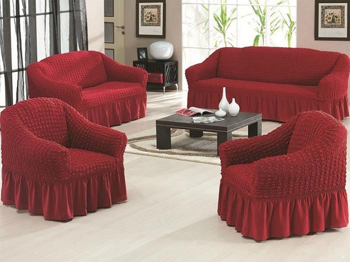Набор чехлов МарТекс Жатка, для трехместного дивана и кресла, цвет: бордовый. 05-0745-3