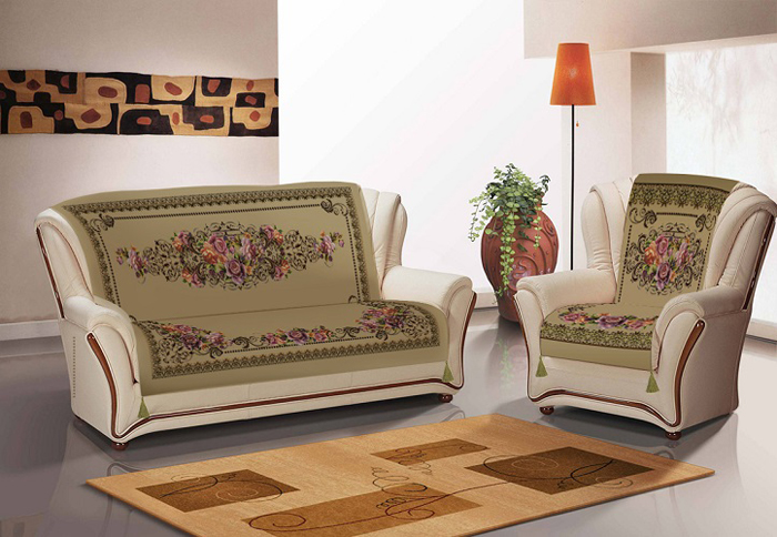 Набор чехлов для дивана и кресел МарТекс, с карманами, 3 предмета. 05-0757-305-0757-3Комплект дивандек замша диван+кресла с карманами
