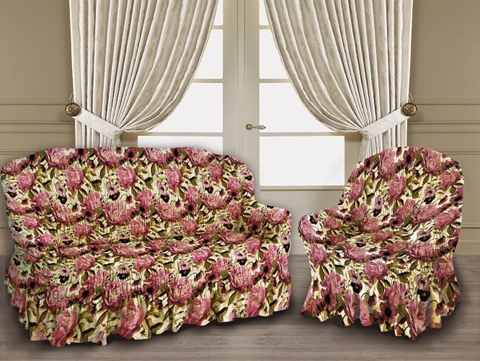 Набор чехлов МарТекс Пионы, для трехместного дивана и 2 кресел. 05-0777-3 набор чехлов для мягкой мебели 3 предмета every 1799 char009