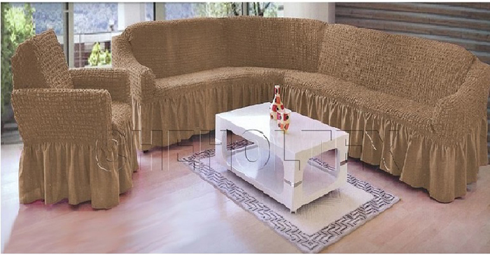 Набор чехлов МарТекс, для углового дивана и кресла, цвет: бежевый. 05-0778-305-0778-3Комплект чехлов для мебели из эластичной ткани с эффектом жатка, выполнен из высококачественного полиэстера и хлопка с красивым рельефом. Предназначен для мягкой мебели стандартного размера со спинкой высотой в 140 см. Такие чехолы изысканно дополнят интерьер вашего дома. Изделие прорезинено со всех сторон и оснащено закрывающей оборкой. Набор чехлов для мягкой мебели придаст вашей мебели новый внешний вид. Каждый элемент интерьера нуждается в уходе и защите. В большинстве случаев потертости появляются на диванах и креслах. В набор входит чехол для трехместного дивана и два чехла для кресла. Чехлы изготовлены из 60% полиэстера и 40% хлопка. Такой материал прекрасно переносит нагрузки, долго не стареет и его просто очистить от грязи. Набор чехлов создан для тех, кто не планирует покупать новую мебель каждый год. Чехлы можно постирать в стиральной машине на деликатном режиме стирки. Он идеально подойдет для тех, кто хочет защитить свою мебель от постоянных воздействий. Этот чехол, благодаря прочности ткани, станет идеальным решением для владельцев домашних животных. Кроме того, состав ткани гипоаллергенен, а потому безопасен для малышей или людей пожилого возраста. Такой чехол отлично впишется в любой интерьер. Чехол послужит не только практичной защитой для вашей мебели, но и обновит интерьер без лишних затрат.