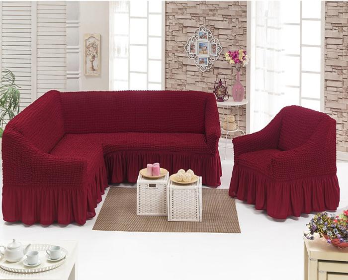 Набор чехлов МарТекс, для углового дивана и кресла, цвет: бордовый. 05-0779-305-0779-3Комплект чехлов для мебели из эластичной ткани с эффектом жатка, выполнен из высококачественного полиэстера и хлопка с красивым рельефом. Предназначен для мягкой мебели стандартного размера со спинкой высотой в 140 см. Такие чехолы изысканно дополнят интерьер вашего дома. Изделие прорезинено со всех сторон и оснащено закрывающей оборкой. Набор чехлов для мягкой мебели придаст вашей мебели новый внешний вид. Каждый элемент интерьера нуждается в уходе и защите. В большинстве случаев потертости появляются на диванах и креслах. В набор входит чехол для трехместного дивана и два чехла для кресла. Чехлы изготовлены из 60% полиэстера и 40% хлопка. Такой материал прекрасно переносит нагрузки, долго не стареет и его просто очистить от грязи.Набор чехлов создан для тех, кто не планирует покупать новую мебель каждый год. Чехлы можно постирать в стиральной машине на деликатном режиме стирки. Он идеально подойдет для тех, кто хочет защитить свою мебель от постоянных воздействий. Этот чехол, благодаря прочности ткани, станет идеальным решением для владельцев домашних животных. Кроме того, состав ткани гипоаллергенен, а потому безопасен для малышей или людей пожилого возраста. Такой чехол отлично впишется в любой интерьер. Чехол послужит не только практичной защитой для вашей мебели, но и обновит интерьер без лишних затрат.