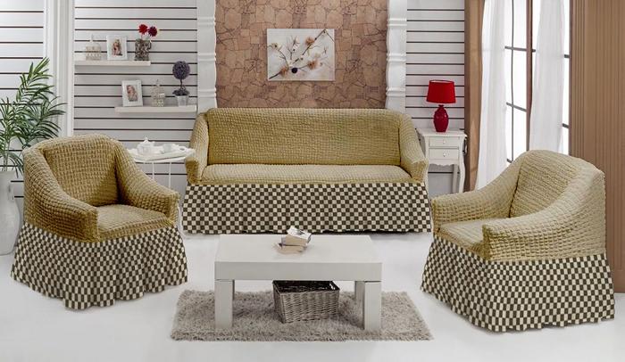 """Набор чехлов МарТекс """"Шах-Мат"""", для трехместного дивана и 2 кресел, цвет: бежевый. 05-0790-3"""
