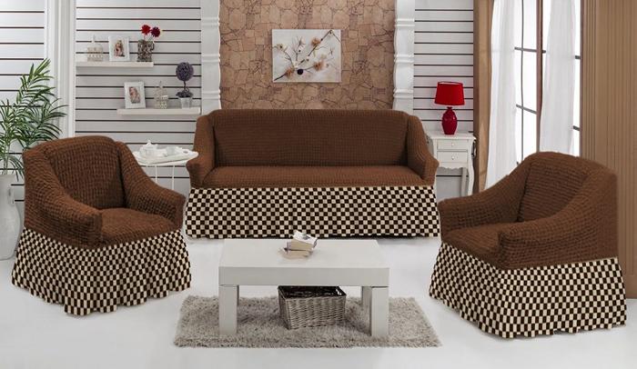 Набор чехлов МарТекс Шах-Мат, для трехместного дивана и 2 кресел, цвет: коричневый. 05-0792-305-0792-3Комплект чехлов для мебели из эластичной ткани с эффектом жатка, выполнен из высококачественного полиэстера и хлопка с красивым рельефом. Предназначен для мягкой мебели стандартного размера со спинкой высотой в 140 см. Такие чехолы изысканно дополнят интерьер вашего дома. Изделие прорезинено со всех сторон и оснащено закрывающей оборкой. Набор чехлов для мягкой мебели придаст вашей мебели новый внешний вид. Каждый элемент интерьера нуждается в уходе и защите. В большинстве случаев потертости появляются на диванах и креслах. В набор входит чехол для трехместного дивана и два чехла для кресла. Чехлы изготовлены из 60% полиэстера и 40% хлопка. Такой материал прекрасно переносит нагрузки, долго не стареет и его просто очистить от грязи. Набор чехлов создан для тех, кто не планирует покупать новую мебель каждый год. Чехлы можно постирать в стиральной машине на деликатном режиме стирки. Он идеально подойдет для тех, кто хочет защитить свою мебель от постоянных воздействий. Этот чехол, благодаря прочности ткани, станет идеальным решением для владельцев домашних животных. Кроме того, состав ткани гипоаллергенен, а потому безопасен для малышей или людей пожилого возраста. Такой чехол отлично впишется в любой интерьер. Чехол послужит не только практичной защитой для вашей мебели, но и обновит интерьер без лишних затрат.