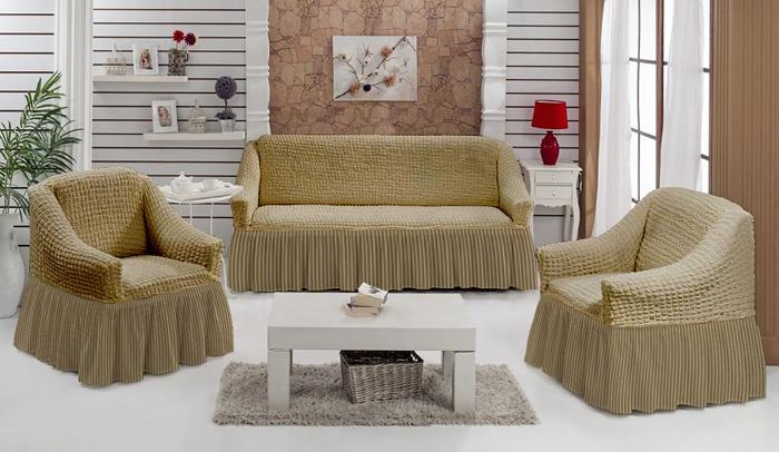 Набор чехлов МарТекс Полоска, для трехместного дивана и 2 кресел, цвет: бежевый. 05-0797-305-0797-3Комплект чехлов для мебели из эластичной ткани с эффектом жатка, выполнен из высококачественного полиэстера и хлопка с красивым рельефом. Предназначен для мягкой мебели стандартного размера со спинкой высотой в 140 см. Такие чехолы изысканно дополнят интерьер вашего дома. Изделие прорезинено со всех сторон и оснащено закрывающей оборкой. Набор чехлов для мягкой мебели придаст вашей мебели новый внешний вид. Каждый элемент интерьера нуждается в уходе и защите. В большинстве случаев потертости появляются на диванах и креслах. В набор входит чехол для трехместного дивана и два чехла для кресла. Чехлы изготовлены из 60% полиэстера и 40% хлопка. Такой материал прекрасно переносит нагрузки, долго не стареет и его просто очистить от грязи. Набор чехлов создан для тех, кто не планирует покупать новую мебель каждый год. Чехлы можно постирать в стиральной машине на деликатном режиме стирки. Он идеально подойдет для тех, кто хочет защитить свою мебель от постоянных воздействий. Этот чехол, благодаря прочности ткани, станет идеальным решением для владельцев домашних животных. Кроме того, состав ткани гипоаллергенен, а потому безопасен для малышей или людей пожилого возраста. Такой чехол отлично впишется в любой интерьер. Чехол послужит не только практичной защитой для вашей мебели, но и обновит интерьер без лишних затрат.