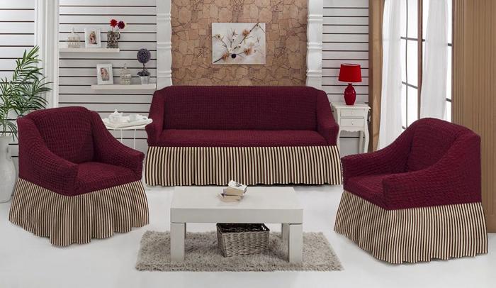 Набор чехлов МарТекс Полоска, для трехместного дивана и кресел, цвет: бордовый. 05-0798-305-0798-3Комплект чехлов для мебели из эластичной ткани с эффектом жатка, выполнен извысококачественного полиэстера и хлопка с красивым рельефом. Предназначен для мягкоймебели стандартного размера со спинкой высотой в 140 см. Такие чехлы изысканно дополнятинтерьер вашего дома. Изделие прорезинено со всех сторон и оснащено закрывающей оборкой.Набор чехлов для мягкой мебели придаст вашей мебели новый внешний вид. Каждый элементинтерьера нуждается в уходе и защите. В большинстве случаев потертости появляются надиванах и креслах. В набор входит чехол для трехместного дивана и два чехла для кресла. Чехлыизготовлены из 60% полиэстера и 40% хлопка. Такой материал прекрасно переносит нагрузки,долго не стареет и его просто очистить от грязи.Набор чехлов создан для тех, кто не планирует покупать новую мебель каждый год. Чехлы можнопостирать в стиральной машине на деликатном режиме стирки. Он идеально подойдет для тех,кто хочет защитить свою мебель от постоянных воздействий. Этот чехол, благодаря прочноститкани, станет идеальным решением для владельцев домашних животных. Кроме того, составткани гипоаллергенен, а потому безопасен для малышей или людей пожилого возраста. Такойчехол отлично впишется в любой интерьер. Чехол послужит не только практичной защитой длявашей мебели, но и обновит интерьер без лишних затрат.Диван, размеры:Ширина посадочного места: 140-210 см. Ширина подлокотников: 25-35 см.Глубина посадочного места: 70-80 см.Высота юбки: 35-45 см. Высота спинки: 80-90 см.Кресло, 2 шт, размеры: Ширина посадочного места: 70-80 см. Ширина подлокотников: 25-35см. Глубина посадочного места: 70-80 см. Высота юбки: 35-45 см. Высота спинки: 80-90 см.