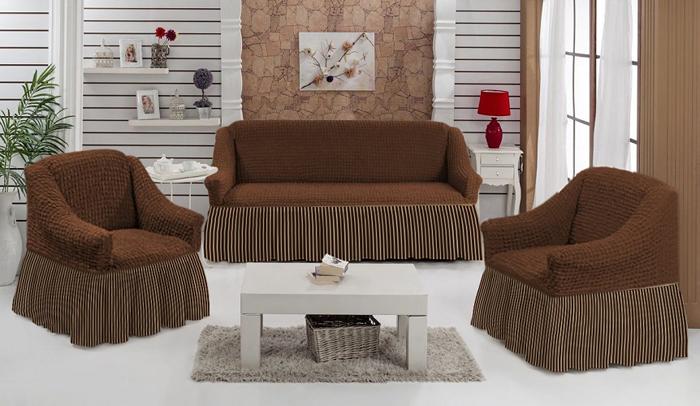 Набор чехлов МарТекс Полоска, для трехместного дивана и кресел, цвет: коричневый. 05-0799-305-0799-3Комплект чехлов для мебели из эластичной ткани с эффектом жатка, выполнен извысококачественного полиэстера и хлопка с красивым рельефом. Предназначен для мягкоймебели стандартного размера со спинкой высотой в 140 см. Такие чехлы изысканно дополнятинтерьер вашего дома. Изделие прорезинено со всех сторон и оснащено закрывающей оборкой.Набор чехлов для мягкой мебели придаст вашей мебели новый внешний вид. Каждый элементинтерьера нуждается в уходе и защите. В большинстве случаев потертости появляются надиванах и креслах. В набор входит чехол для трехместного дивана и два чехла для кресла. Чехлыизготовлены из 60% полиэстера и 40% хлопка. Такой материал прекрасно переносит нагрузки,долго не стареет и его просто очистить от грязи.Набор чехлов создан для тех, кто не планирует покупать новую мебель каждый год. Чехлы можнопостирать в стиральной машине на деликатном режиме стирки. Он идеально подойдет для тех,кто хочет защитить свою мебель от постоянных воздействий. Этот чехол, благодаря прочноститкани, станет идеальным решением для владельцев домашних животных. Кроме того, составткани гипоаллергенен, а потому безопасен для малышей или людей пожилого возраста. Такойчехол отлично впишется в любой интерьер. Чехол послужит не только практичной защитой длявашей мебели, но и обновит интерьер без лишних затрат.