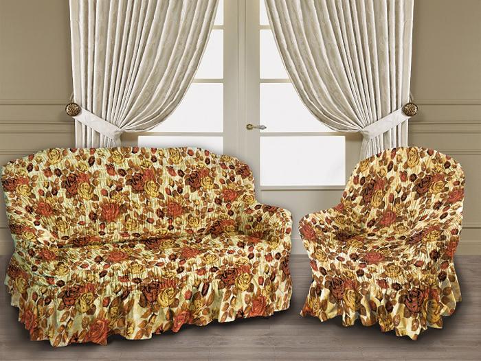 Набор чехлов МарТекс Осенная роза, для трехместного дивана и 2 кресел. 05-0800-305-0800-3Комплект чехлов для мебели из велюровой ткани с нанесение принта методом сублимационной фотопечати, выполнен из высококачественного полиэстера с эффектом мерцания. Предназначен для мягкой мебели стандартного размера со спинкой высотой до 140 см. Такие чехлы изысканно дополнят интерьер вашего дома. Изделие продублировано широкой резинкой со всех сторон и оснащено закрывающей оборкой. Набор чехлов для мягкой мебели придаст вашей мебели новый внешний вид. Каждый элемент интерьера нуждается в уходе и защите. В большинстве случаев потертости появляются на диванах и креслах. В набор входит чехол для трехместного дивана и два чехла для кресла. Чехлы изготовлены из 100% полиэстера. Такой материал прекрасно переносит нагрузки, долго не стареет и его просто очистить от грязи.Набор чехлов создан для тех, кто не планирует покупать новую мебель каждый год. Чехлы можно постирать в стиральной машине при деликатном режиме стирки. Он идеально подойдет для тех, кто хочет защитить свою мебель от постоянных воздействий. Этот чехол, благодаря прочности ткани, станет идеальным решением для владельцев домашних животных. Кроме того, состав ткани гипоаллергенен, а потому безопасен для малышей или людей пожилого возраста. Такой чехол отлично впишется в любой интерьер. Чехол послужит не только практичной защитой для вашей мебели, но и обновит интерьер без лишних затрат.Диван, размеры:Ширина посадочного места: 140-210 см. Ширина подлокотников: 25-35 см.Глубина посадочного места: 70-80 см.Высота юбки: 35-45 см. Высота спинки: 80-90 см.Кресло, 2 шт, размеры: Ширина посадочного места: 70-80 см. Ширина подлокотников: 25-35см. Глубина посадочного места: 70-80 см. Высота юбки: 35-45 см. Высота спинки: 80-90 см.