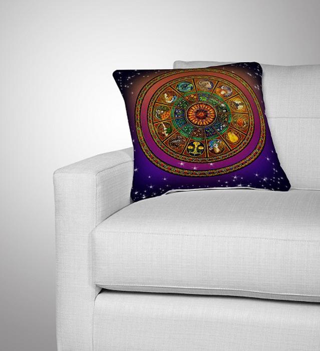 Подушка декоративная МарТекс Зодиакальный круг, цвет: коричнево-красный, 36 х 36 см16-0286-1Декоративная подушка, рисунок выполнен методом фотопечати. Наполнение полое силиконизированное волокно Hollow Fiber.