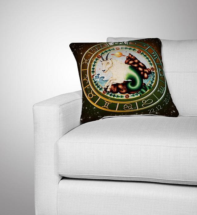 Подушка декоративная МарТекс Козерог, цвет: коричнево-красный, 36 х 36 см16-0287-1Декоративная подушка, рисунок выполнен методом фотопечати. Наполнение полое силиконизированное волокно Hollow Fiber.