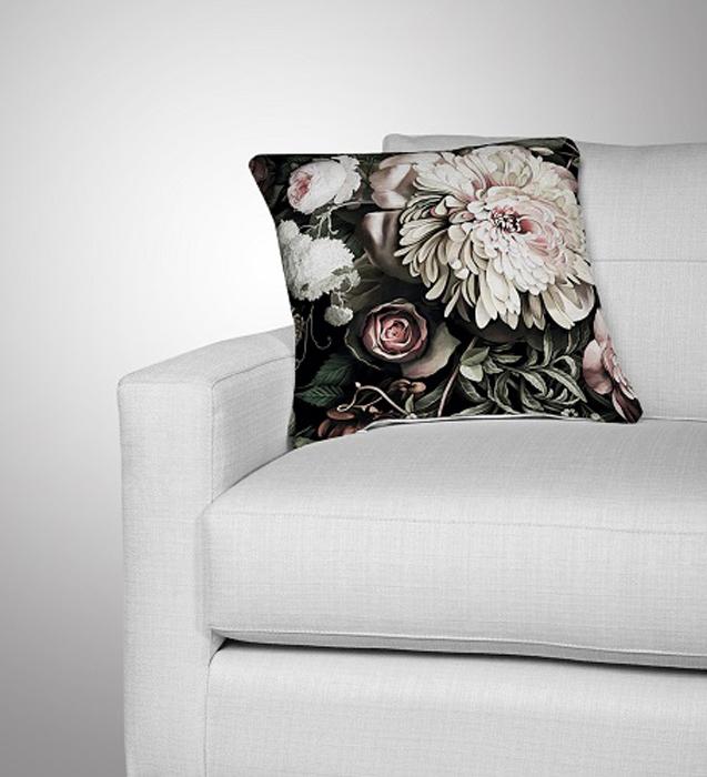 Подушка декоративная МарТекс Французские розы лайт, цвет: оливковый, 45 х 45 см