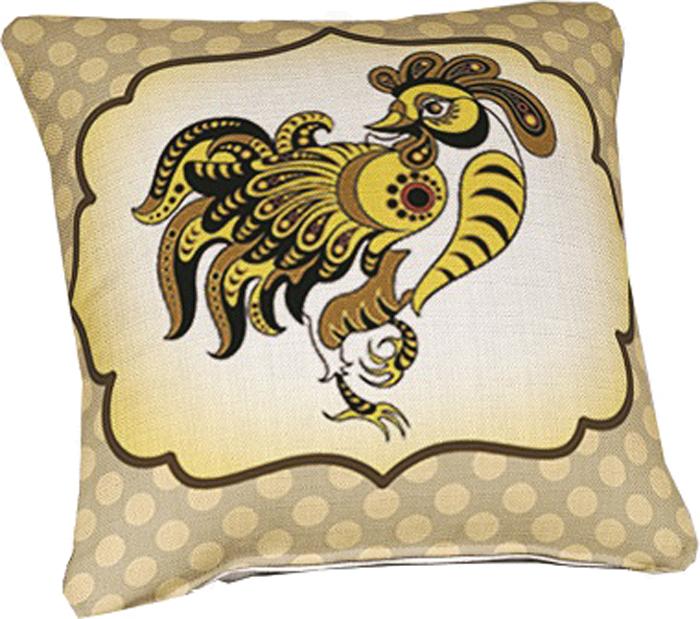 Подушка декоративная МарТекс Золотой петушок, цвет: светло-бежевый, 45 х 45 см16-0937-1Декоративная подушка, рисунок выполнен методом фотопечати. Наполнение полое силиконизированное волокно Hollow Fiber.