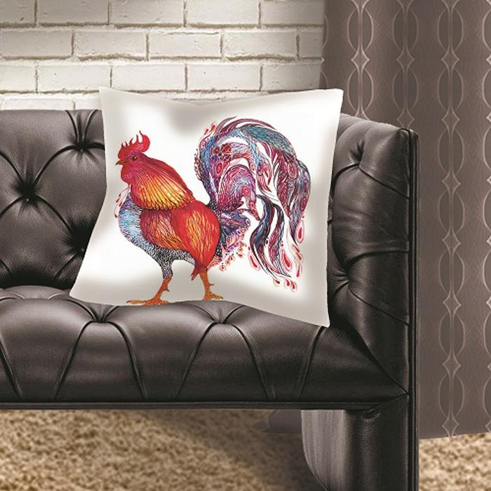 Подушка декоративная МарТекс Петухи, цвет: красный, 45 х 45 см16-1287-1Декоративная подушка, рисунок выполнен методом фотопечати. Наполнение полое силиконизированное волокно Hollow Fiber.