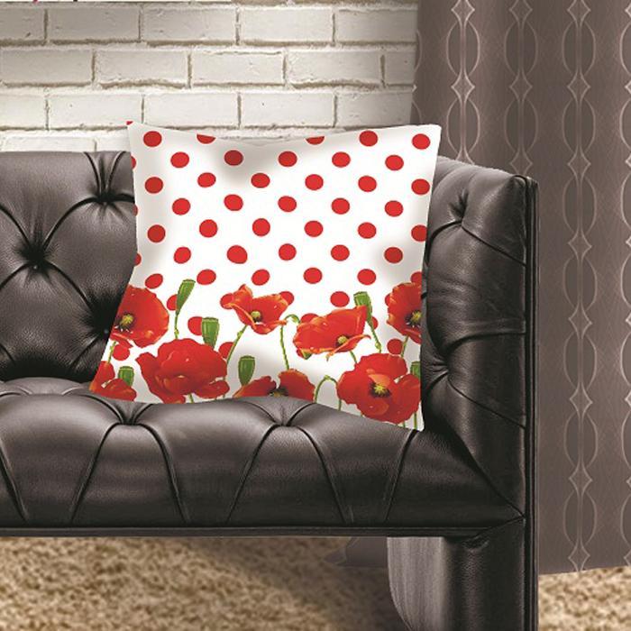 Подушка декоративная МарТекс Луговые маки, цвет: красный, 45 х 45 см16-1290-1Декоративная подушка, рисунок выполнен методом фотопечати. Наполнение полое силиконизированное волокно Hollow Fiber.