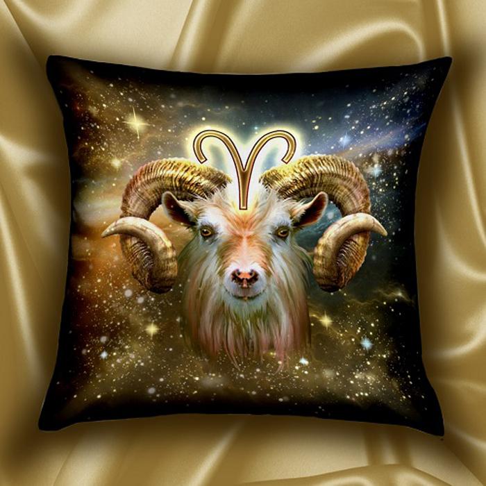 Подушка декоративная МарТекс Звездный круг. Овен, цвет: коричневый, 45 х 45 см