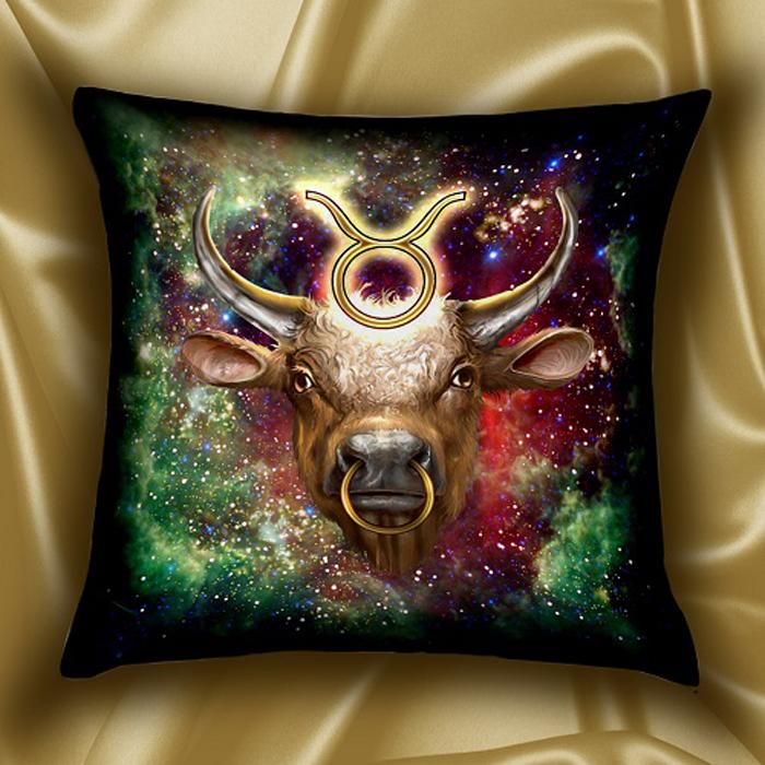 Подушка декоративная МарТекс Звездный круг. Телец, цвет: зеленый, 45 х 45 см16-1578-1Декоративная подушка, рисунок выполнен методом фотопечати. Наполнение полое силиконизированное волокно Hollow Fiber.