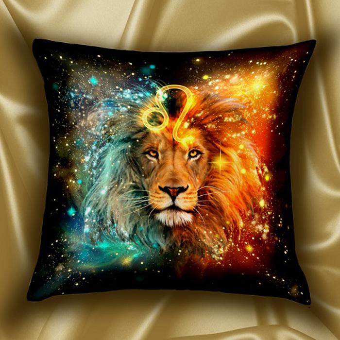 Подушка декоративная МарТекс Звездный круг. Лев, цвет: золотой, 45 х 45 см16-1581-1Декоративная подушка, рисунок выполнен методом фотопечати. Наполнение полое силиконизированное волокно Hollow Fiber.