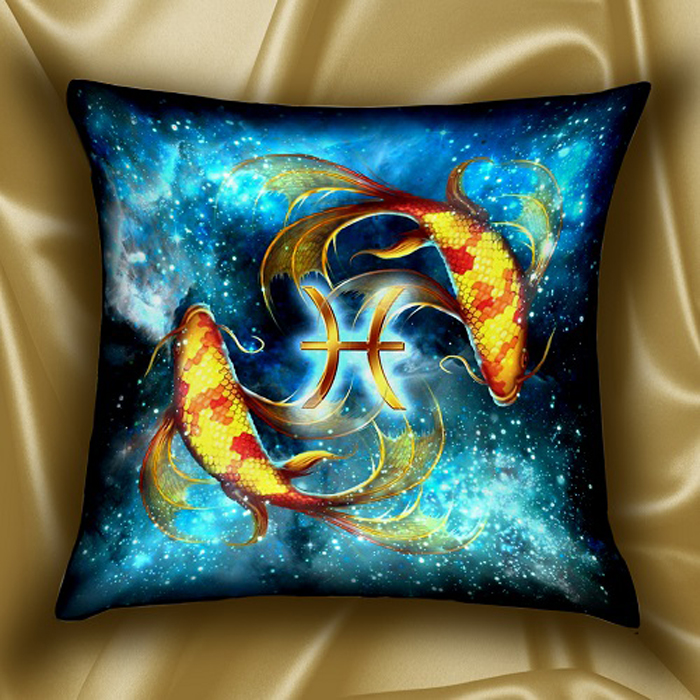 Подушка декоративная МарТекс Звездный круг. Рыбы, цвет: бирюзовый, 45 х 45 см16-1588-1Декоративная подушка, рисунок выполнен методом фотопечати. Наполнение полое силиконизированное волокно Hollow Fiber.