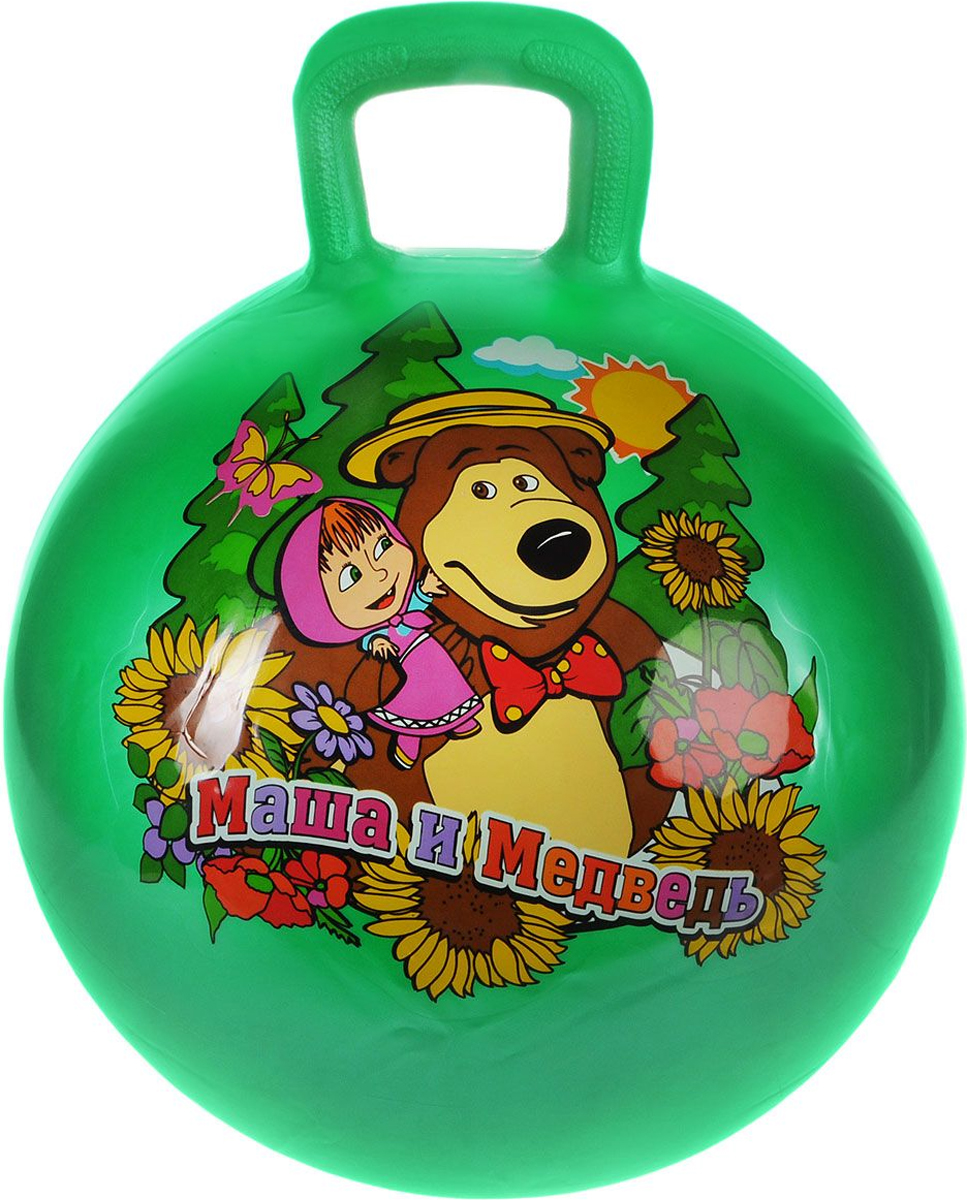Играем вместе Мяч-попрыгун Маша и Медведь с ручкой цвет зеленый 45 см