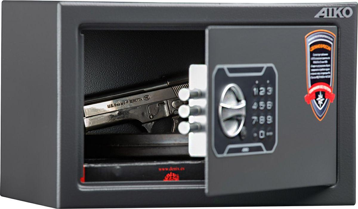 """Сейф Aiko """"TT-200.EL"""" - усиленный сейф для хранения оружия.  Его прочная сварная конструкция из стали толщиной 1,2 мм с усиленной дверцей, толщина лицевой панели которой 2,8 мм, запирающейся  кодовым электронным замком PLS-3 (Россия) с защитой от подбора кода и функцией аварийного открывания с помощью мастер-ключа -  прослужит вам очень долго. Замок работает с кодовыми комбинациями из 4-6 цифр, его питание осуществляется от  батареек класса Корона (9В, класс 6LF22). зависимости от интенсивности эксплуатации, заряда заменяемых элементов питания хватает, примерно, на год-полтора.  Встроенная индикация сигнализирует о падении напряжения в рабочей системе.  Доступ к батарейкам осуществляется с наружной стороны дверцы. Память замка не зависти от заряда батареи и рабочий код не сбрасывается.   Поверхность сейфа покрыта износостойким порошковым покрытием. Так же, конструкционно предусмотрена возможность анкерного крепления сейфа к стене.   Сейфы линии Aiko целиком отвечают требованиям МВД РФ к хранению короткоствольного оружия и сертифицированы на устойчивость к взлому по стандарту ГОСТ Р 50862-2005."""