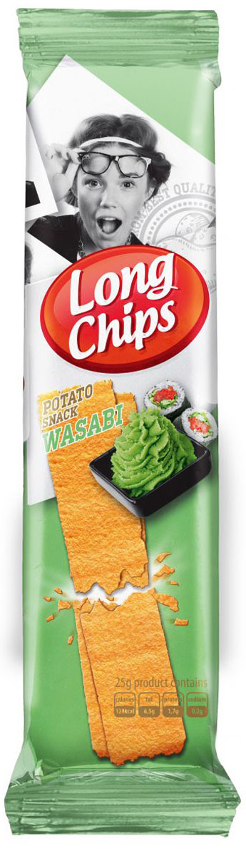 Long Chips картофельные чипсы со вкусом васаби, 75г lorenz pomsticks картофельные чипсы со вкусом бекона 100 г