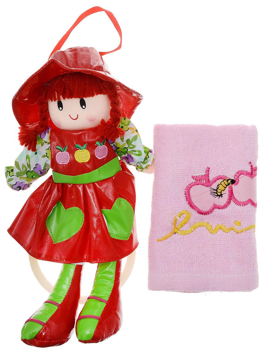 Sima-land Мягкая кукла Оля с держателем и полотенцем цвет красный