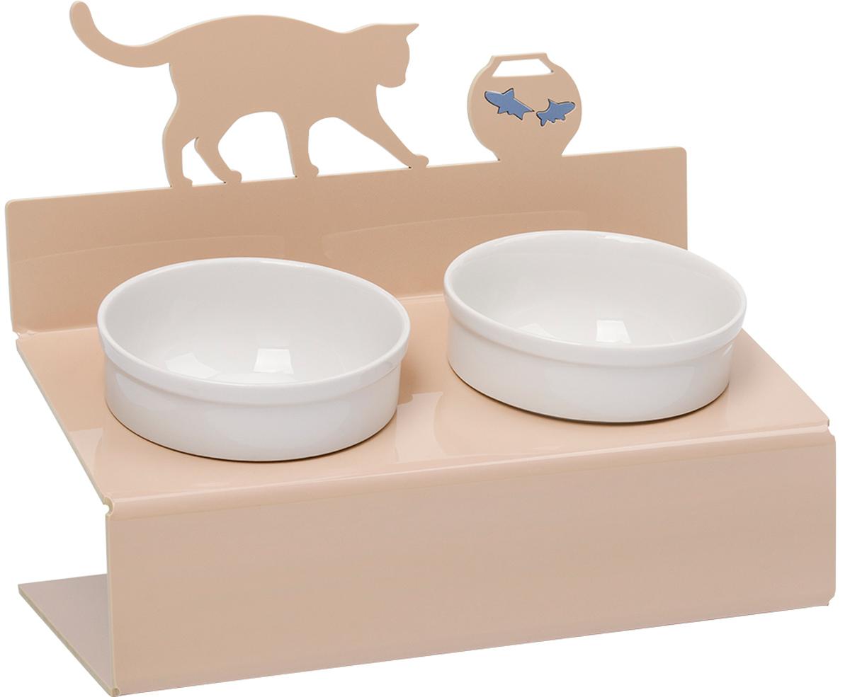 Миска для животных Artmiska  Кот и рыбы , двойная, на подставке, цвет: кремовый, 2 x 350 мл - Аксессуары для кормления