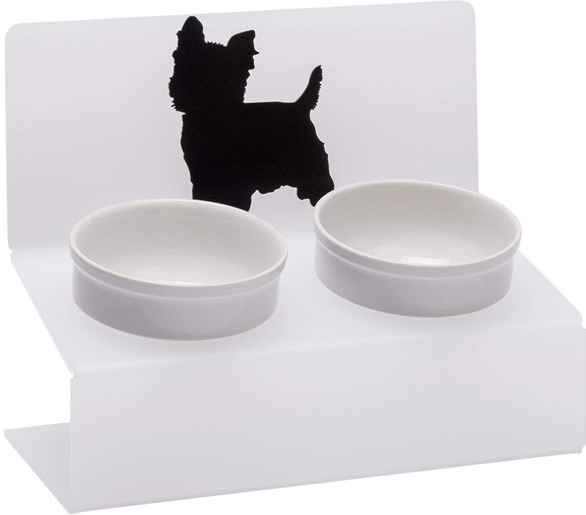 Миска для животных Artmiska  Четыре породы , двойная, на подставке, цвет: белый, полупрозрачный, 2 x 350 мл - Аксессуары для кормления