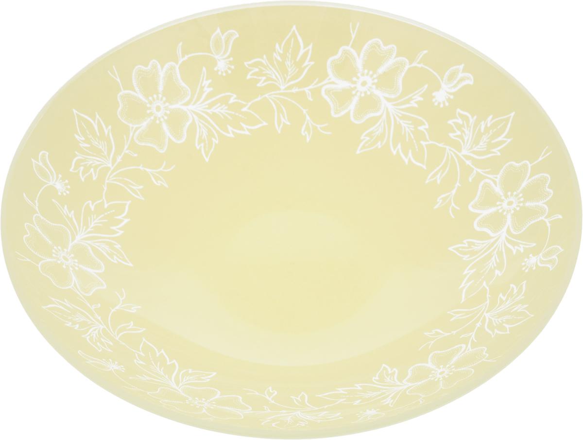 Тарелка глубокая Nina Glass Лара, цвет: молочный, диаметр 22,5 см салатник nina glass ажур цвет сиреневый диаметр 16 см