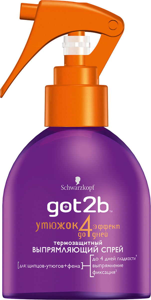 Got2b Выпрямляющий спрей для волос Утюжок, термозащитный, 200 мл9045065Твоя мечта - прямые волосы на 4 дня? Не медли, разгладь их с помощью выпрямляющего спрея Got2b Утюжок. Твое вооружение: щипцы, фен + Утюжок, и путь к прямым волосам проложен! Перейди на новый уровень гладкости с эффектом до 4 дней и защити свои