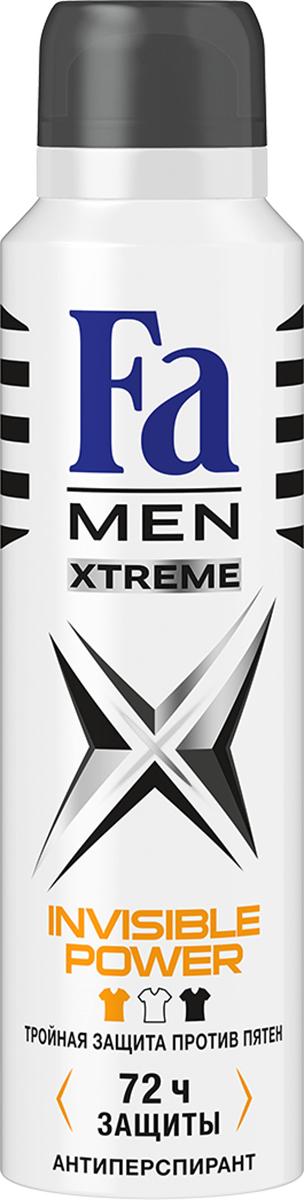 FA MEN Xtreme Дезодорант-аэрозоль Invisible, 150 мл12083659Fa Men Invisible Power – экстремальная защита от пота, запаха, а так же белых, желтых и масляных пятен на одежде. Инновационная формула с технологией Sweat Detect* борется с потом еще до его появления. • Научно доказано: 72ч защиты от пота и запаха • 0 % спирта. Хорошая переносимость кожей подтверждена дерматологами. Также почувствуйте притягательную свежесть, принимая душ с гелем для душа Fa Men Xtreme.
