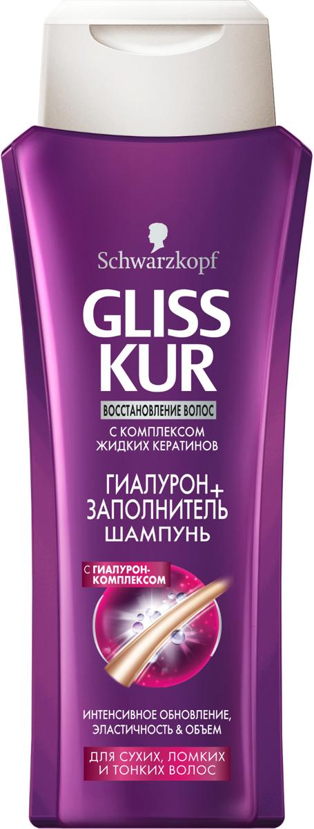 GLISS KUR Шампунь Гиалурон-заполнитель, 250 мл9261350Интенсивное обновление, эластичность и объемдля сухих, ломких и тонких волосКремоваяформула шампуня с Гиалурон-Комплексом эффективно обновляет структуру волос, действуя изнутри. Волосы заново приобретают свою внутреннюю силу, объем и эластичность, обеспечивая до 90% больше внутренней силы волос.* *при использовании экспресс-кондиционера и мгновенной восстанавливающей маски Gliss Kur Гиалурон + Заполнитель