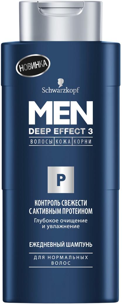 MEN DEEP EFFECT 3 Шампунь Контроль Свежести с активными протеинами, 250 мл9034250Особый шампунь с тройным действием для 100% здорового вида волос. Работает одновременно на трех уровнях: волосы, кожа, корни.ЕЖЕДНЕВНЫЙ ШАМПУНЬ глубоко очищает и увлажняет волосы. Мощная формула с активным протеином глубоко воздействует на волосы и избавляет от пота и жира. 100% мужской шампунь! - 100% очищение - Мегасвежесть и сила