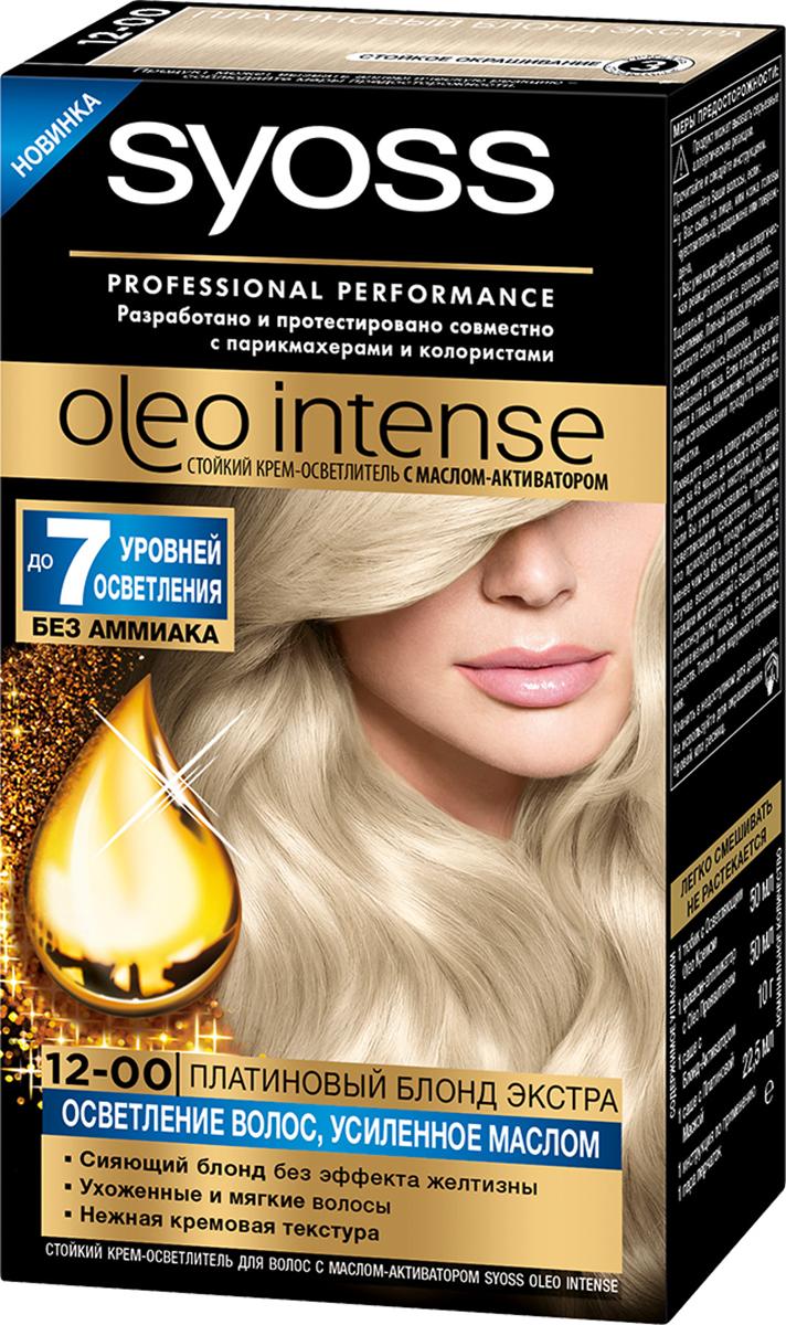 Syoss Oleo Intense Краска для волос 12-0 Платиновый блонд экстра 122,5 мл + 10 г09393503120Откройте для себя стойкий КРЕМ-ОСВЕТЛИТЕЛЬ на основе масла-активатора в линии Syoss Oleo Intense, осветляющий до 7 уровней – абсолютно без аммиака. Входящее в состав масло усиливает действие осветляющих компонентов – для сияющего