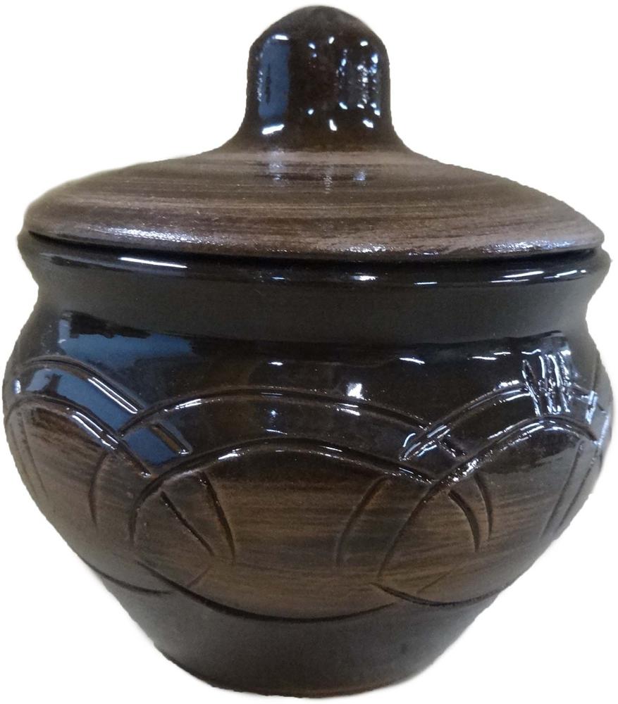 """Горшочек для запекания Борисовская керамика """"Малютка"""", с крышкой, цвет: коричневый, серый, 200 мл. СТР00002217"""