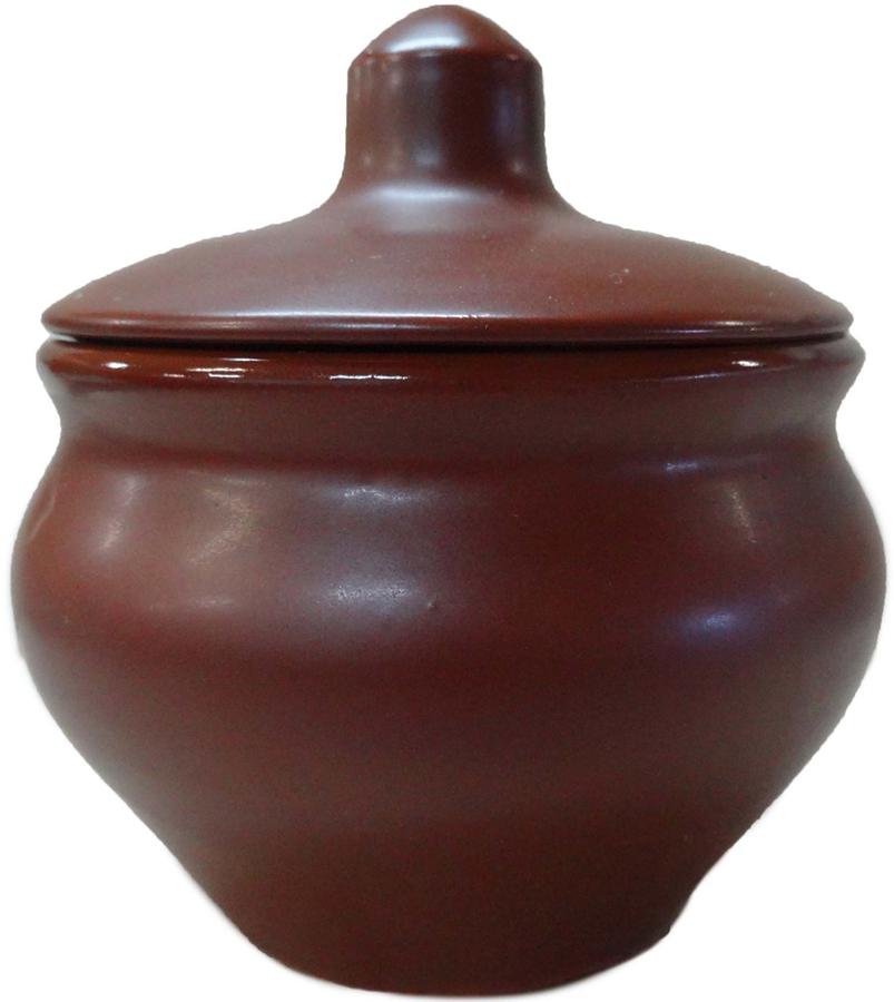 """Горшочек для запекания Борисовская керамика """"Малютка"""", с крышкой, цвет: коричневый, 200 мл. ШЛК00002019"""
