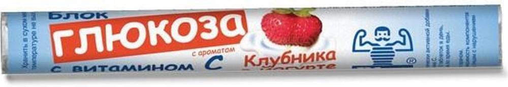 Блок Глюкоза с витамином С с ароматом клубники в йогурте таблетки жевательные №18 глюкоза 10