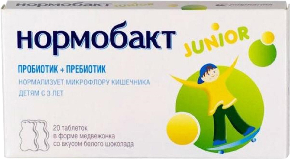 Нормобакт Джуниор таблетки №20213718Нормобакт Junior поддерживает соответствующий состав бактериальной флоры пищеварительного тракта, который является природным барьером и предотвращает развитие вредной микрофлоры. Сфера применения: ГастроэнтерологияПробиотическое и пребиотическоеСледует соблюдать осторожность при применении его детьми с иммунными нарушениями либо врожденным пороком сердца. Содержит подсластитель - применение в чрезмерных дозах может вызвать слабительный эффект. Нормобакт Junior содержит два пробиотических штамма молочных бактерий Lactobacillus acidophilus и Bifidobacterium lactisи пребиотик - фруктоолигосахариды.Сочетание пробиотика с пребиотиком продлевает период жизни полезных бактерий, значительно увеличивает количество собственных полезных бактерий, позволяя сократить срок коррекции дисбактериоза до 10 дней.