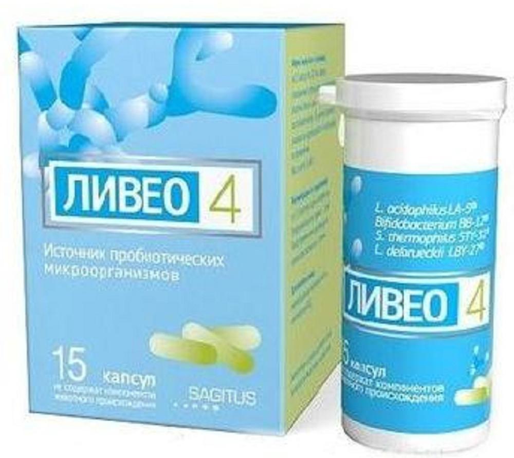 Ливео 4 капсулы 227 мг флакон №15214320Рекомендуется в качестве источника пробиотических микроорганизмов (лактобактерий и бифидобактерий). Сфера применения: ГастроэнтерологияПробиотическое и пребиотическоеСостав:1 капсула солдержит лактобактерии ацидофильные (Lacttobacillus acidophilus LA-5), бифидобактерии (Bifidobacterium BB-12), стрептококк термофильный (Streptococcus thermophilus STY-31), болгарская палочка (Lactobacillus delbrueckii subsp. bulgaris LBY-27). Ливео 4 - биологически активная добавка к пище. Не является лекарственным средством. Комбинация Probio-Tec Quatro-cap-4 из четырех пробиотических микроорганизмов: Lacttobacillus acidophilus LA-5, Bifidobacterium BB-12, Streptococcus thermophilus STY-31, Lactobacillus delbrueckii subsp. bulgaris LBY-27 в количестве 4,5 х10 9 КОЕ. Ливео 4 выпускается в специальных капсулах, изготовленных из растительного сырья и не содержащих компонентов животного происхождения. Входящие в состав Ливео 4 пробиотических микроорганизма способствуют нормализации микрофлоры кишечника и укреплению естественных сил организма. Не содержит лактозу, глютен, ГМО и консервантов.