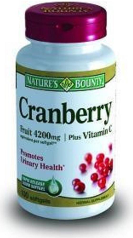 Нэйчес Баунти Концентрат ягод клюквы, равный 4200 мг свежих ягод, с витамином С капсулы №100215633Профилактика и комплексная терапия цистита Сфера применения: УрологияОбщеукрепляющее