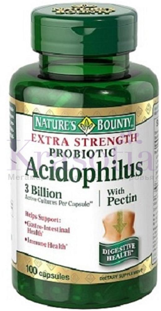 Нэйчес Баунти Ацидофилус (пробиотик) капсулы 476 мг №100219517Лактобактерии являются пробиотиками, то есть помогают создавать здоровую среду в желудочно-кишечном тракте и должны составлять до 85% микрофлоры кишечника. Дружественные молочнокислые бактерии Lactobacillus acidophilus помогают сохранить полезную микрофлору и препятствуют размножению патогенных микроорганизмов и грибка. Сфера применения: ГастроэнтерологияПробиотическое и пребиотическое