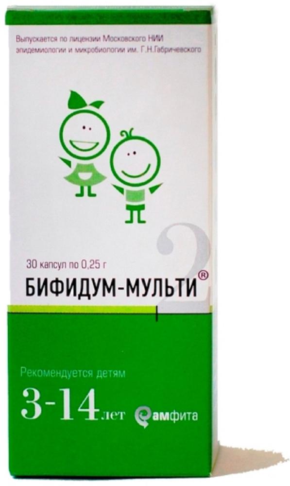 Бифидум-Мульти-2 для детей от 3 до 14 лет капсулы 400 мг №30221327Сфера применения: ГастроэнтерологияПробиотическое и пребиотическое
