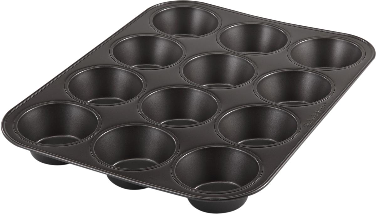 Форма для выпечки маффинов Bakers Secret Essentials, цвет: темно-серый, 12 ячеек. 11143661114366Форма для выпечки маффинов Bakers Secret Essentials является хорошим приобретением для любой хозяйки. Форма выполнена из высококачественной стали и имеет 6 круглых ячеек. Внешнее антипригарное покрытие для удобства ухода и утолщенные стенки гарантируют равномерное пропекание изделий. Качественная нержавеющая сталь никак не скажется на вкусе готовой пищи и не будет подвержена воздействию кислот и щелочей, содержащихся в моющих средствах. Можно мыть в посудомоечной машине.