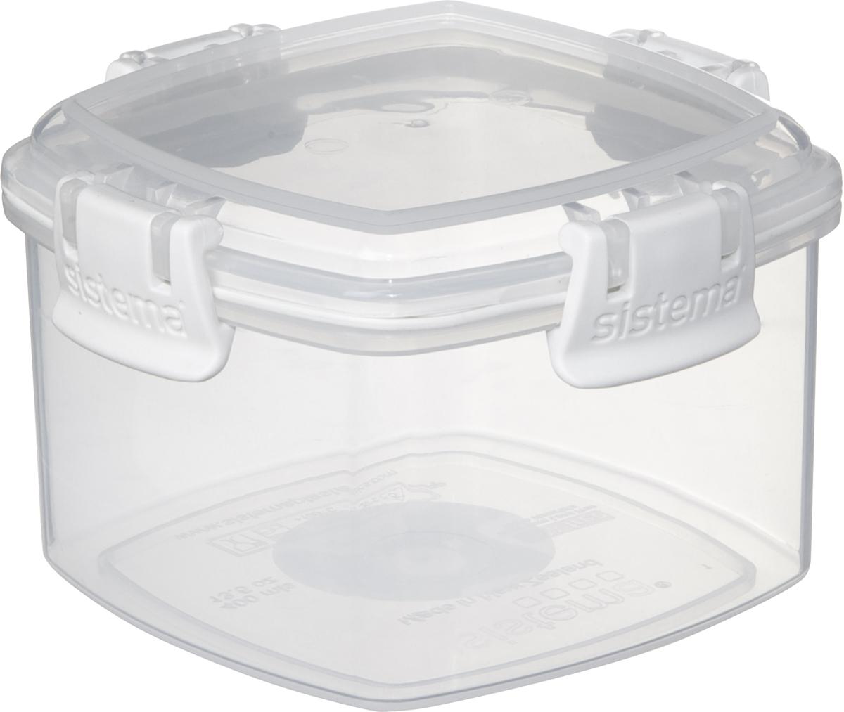 Контейнер Sistema Klip It, цвет: белый, прозрачный, 400 мл. 6133161331Контейнер Sistema Klip It предназначен для хранения различных продуктов. Крышка с силиконовой прокладкой герметично закрывается, что помогает дольшесохранить полезные свойства продуктов. Контейнер надежно закрывается клипсами, которые при необходимости можно заменить. Можно мыть в посудомоечной машине.Размер контейнера (с учетом крышки): 11 х 11 х 6,5 см.